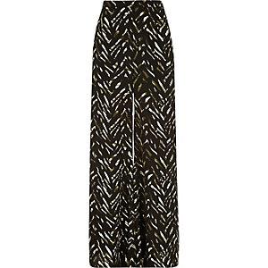 Khaki zebra print palazzo pants