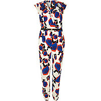 White geo print cut out wrap front jumpsuit