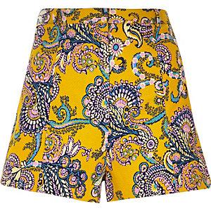 Yellow textured paisley print shorts