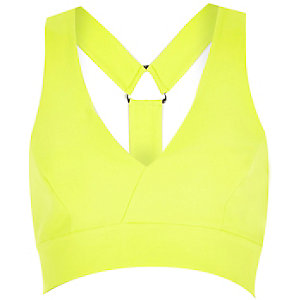 Lime structured multi strap crop top