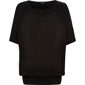 Black lightweight chiffon hem t-shirt