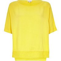 Yellow lightweight chiffon hem t-shirt