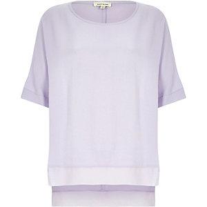 Purple lightweight chiffon hem t-shirt
