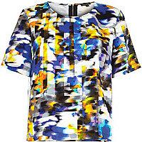 Blue blur print t-shirt