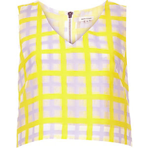 Yellow check structured crop top