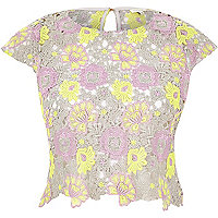 Purple yellow lace cropped top