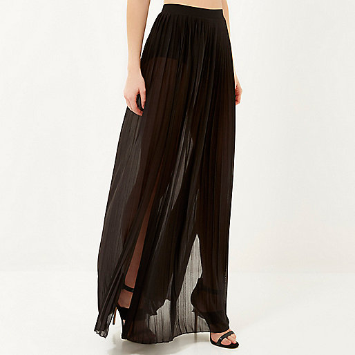 Black Pleated Thigh Split Maxi Skirt