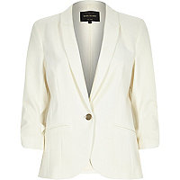 Cream long sleeve fitted tailored blazer