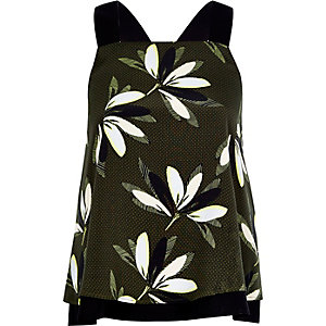 Green print wide strap double layer cami