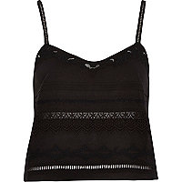 Black lace embroidered cami