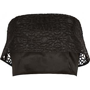 Black organza overlay bandeau crop top