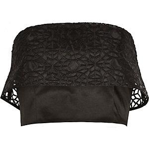 Black organza overlay bandeau crop top
