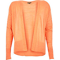 Coral open long sleeve cardigan