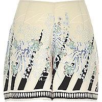Cream vintage print shorts