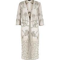 Grey embellished longline kimono