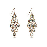 Gold tone diamante teardrop dangle earrings