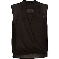 Black sleeveless wrap cami layer top