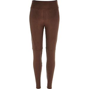 Dark brown faux suede high waisted leggings