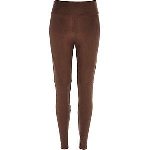 Dark brown faux suede high waisted leggings