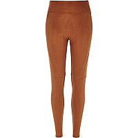 Brown faux suede high waisted leggings