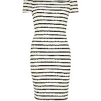 Cream and navy stripe bardot bodycon dress