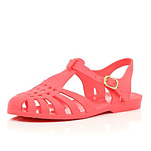 Coral pink jelly shoes