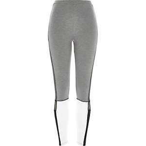 Grey high waisted panelled leggings