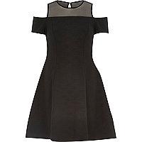 Black textured jersey cold shoulder dress