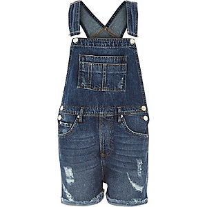 Mid wash distressed denim dungaree shorts