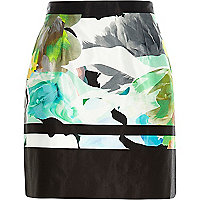 Green water colour print A-line skirt