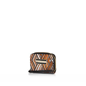 Orange tribal print zip around purse