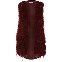 Dark red feather gilet