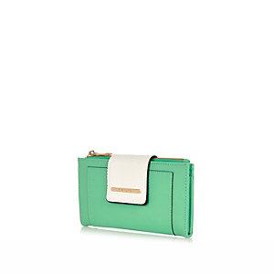 Green foldover tab purse