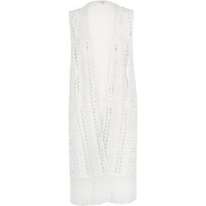 Cream crochet fringed longline waistcoat