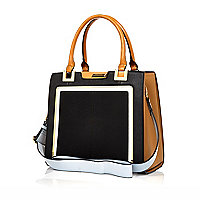Black contrast handle structured tote bag