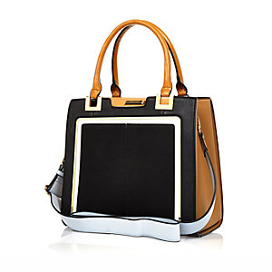 Black contrast handle structured tote handbag