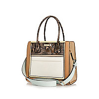Brown panelled structured tote bag