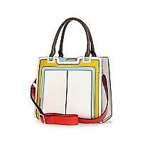 White panelled structured tote bag