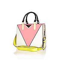 Pink split design tote handbag