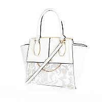 White laser cut tote bag