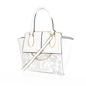 White laser cut tote handbag