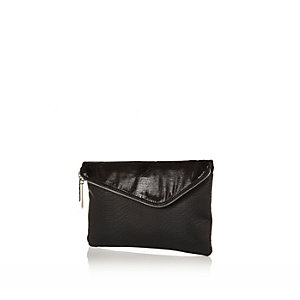 Black oversized asymmetric clutch