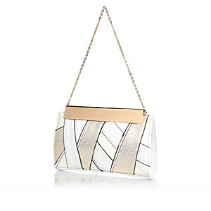 White metallic clip top clutch bag