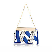 Blue snake print criss-cross frame clutch bag