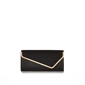 Black metal trim asymmetric clutch bag