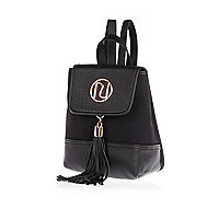 Black faux-suede mini backpack