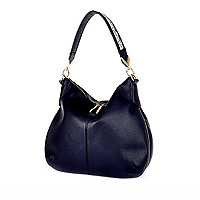Navy blue slouch zip handbag