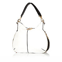 White slouch zip handbag
