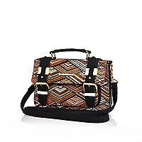 Orange woven tribal print satchel