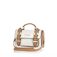 White and camel mini satchel bag